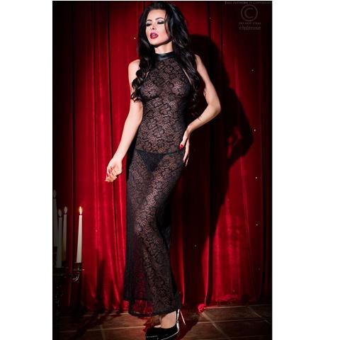 Эротическое прозрачное черное платье в пол Chilirose