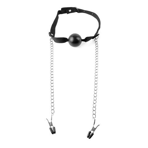 Fetish Fantasy Series Ball Gag & Nipple Clamps кляп с зажимами для сосков