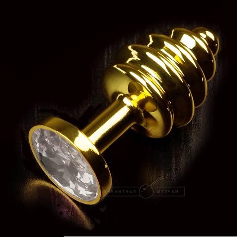 Ребристая золотистая анальная пробка с кристаллом