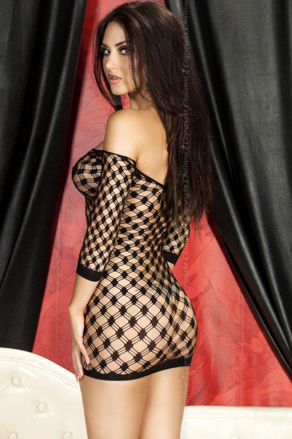 Черное платье в крупную сетку Chilirose